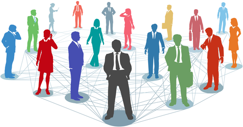 Large group of silhouette business people in nodes connected by many network lines