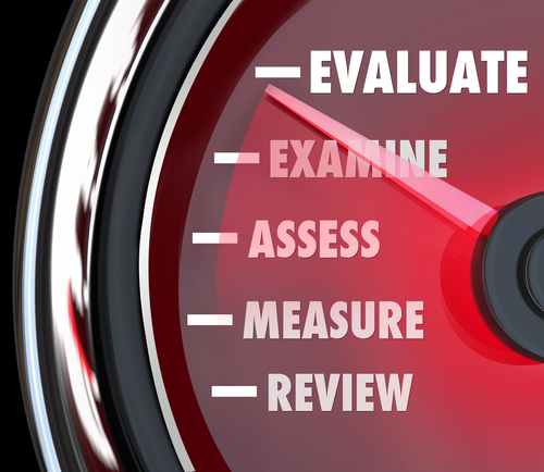 A performance review or evaluation measured on a speedometer or gauge to assess or review your actions on a job or exam