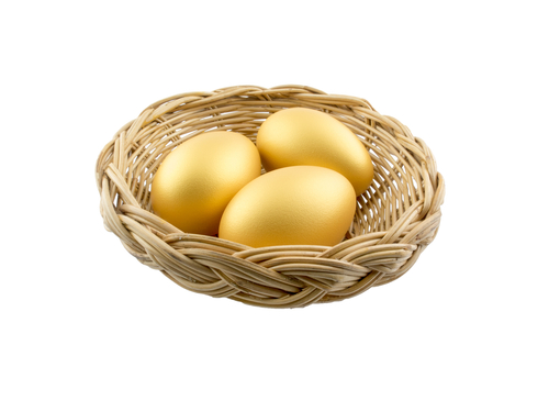 Three golden eggs in a basket isolated on white background
