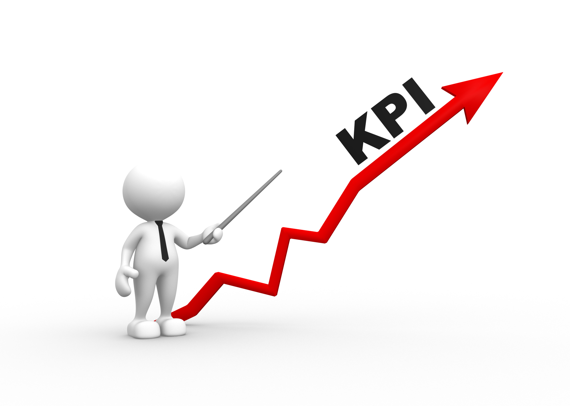 3d people - man, person with arrow and KPI ( Key performance indicator)