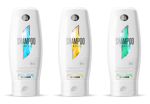 Shampoo design pack. Cosmetic brand template. Vector packaging. Body care product. Realistic bottle mock up set. Isolated pack on white background.