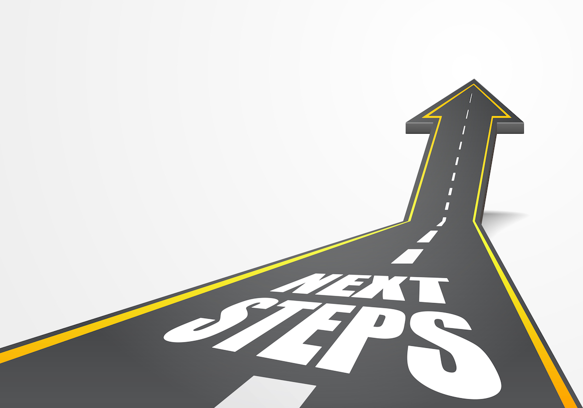 detailed illustration of a highway road going up as an arrow with Next Steps text, eps10 vector